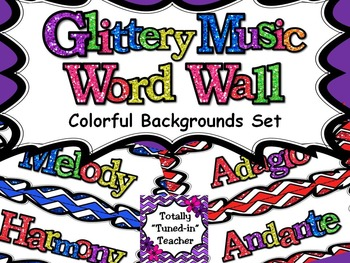 Colorful Backgrounds Music Word Wall - Glittery Music Mega Set
