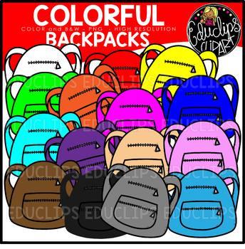 Colorful Backpacks Clip Art Set {Educlips Clipart}