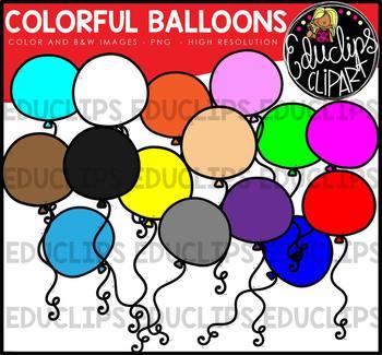 Colorful Balloons Clip Art Bundle {Educlips Clipart}