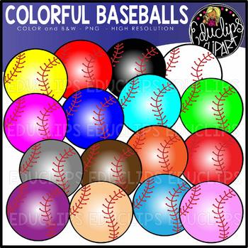 Colorful Baseballs Clip Art Set {Educlips clipart}