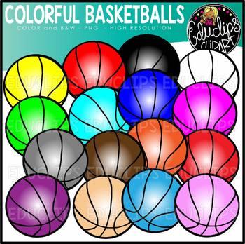 Colorful Basketballs Clip Art Set {Educlips clipart}