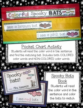 """Halloween Color Words --- Colorful """"Spooky"""" Bats Color Word Literacy Centers"""