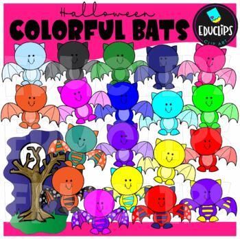 Colorful Bats Clip Art Bundle {Educlips Clipart}
