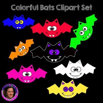 Colorful Bats Clipart Set