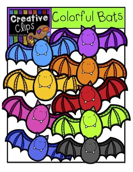 Colorful Bats {Creative Clips Digital Clipart}