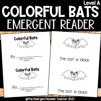 Colorful Bats Emergent Reader! Halloween Guided Reading Book