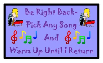 Colorful Be Right Back Sign with Musical Theme PDF 8 1/2 X 14  6 Colors/Versions