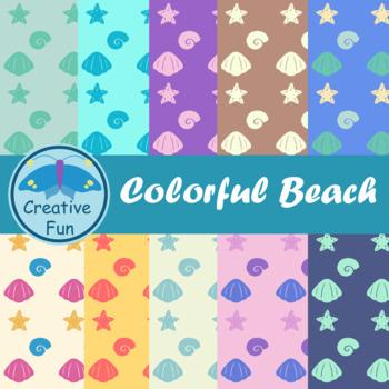 Colorful Beach Digital Paper