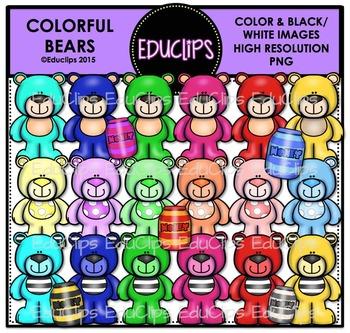 Colorful Bears Clip Art Bundle {Educlips Clipart}