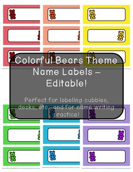 Colorful Bears Theme Name Labels - Editable!