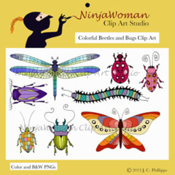 Colorful Beetles & Bugs Clip Art