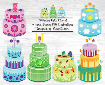Colorful Birthday Cake Clip Art, 6 Hand Drawn Birthday Cake Illustrations