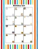 Colorful Birthday List