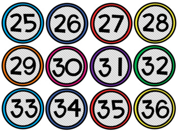 Colorful Black & White Number and Alphabet Labels