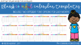 Colorful Blank Calendar Templates (2 font options)