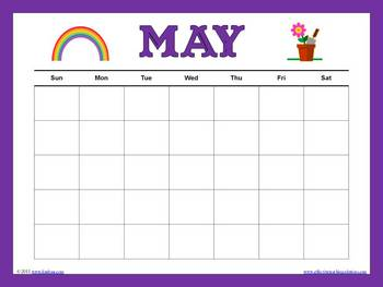 Colorful Blank Calendars for the Entire Year