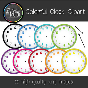 Colorful Blank Clock Clipart