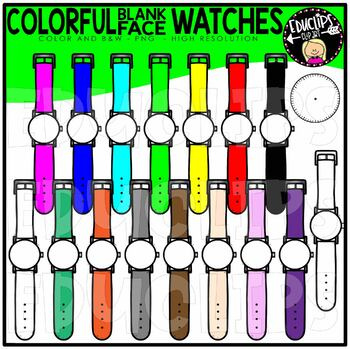 Colorful Blank Watches Clip Art Set {Educlips Clipart}