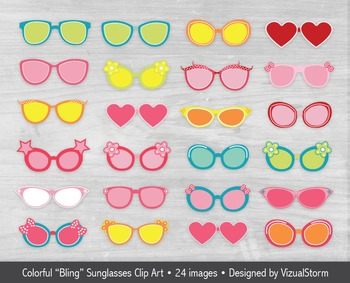 Sunglasses Clip Art, 24 Colorful Summer Beach Bling Glasses Illustrations
