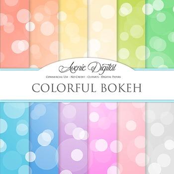 Colorful Bokeh Digital Paper spotty sparkle light circles scrapbook backgrounds