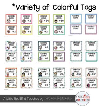 Colorful Book Bag Tags {Editable}