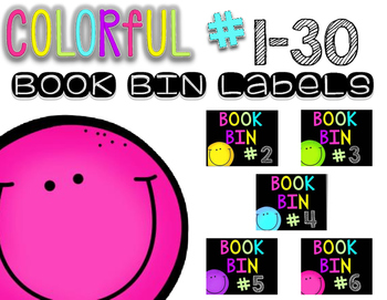 Colorful Book Bin Labels