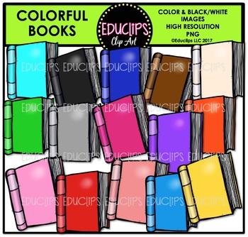Colorful Books Clip Art Bundle {Educlips Clipart}