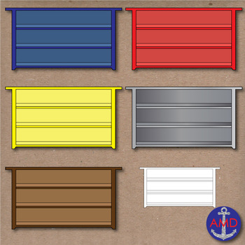 Colorful Bookshelves- Classroom Clip Art with Books & Organized Bins