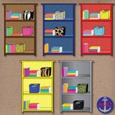 Colorful Bookshelves- Classroom Clip Art with Books & Orga