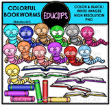 Colorful Bookworms Clip Art Bundle {Educlips Clipart}