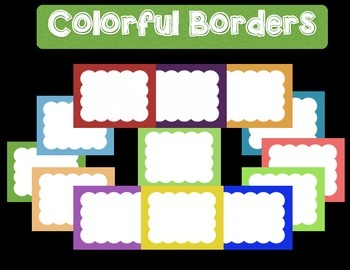 """Colorful Borders + Frames Clipart- """"Big Clouds"""" -For Personal and Commercial Use"""