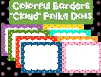 20 Colorful Borders + Frames Clipart - Big Clouds with Polka Dots