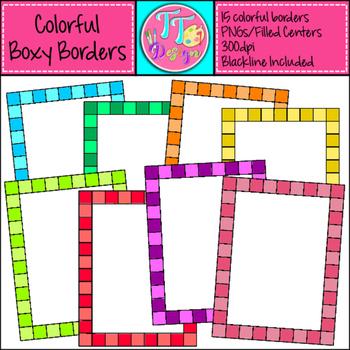 Colorful Boxy Borders Clip Art CU OK