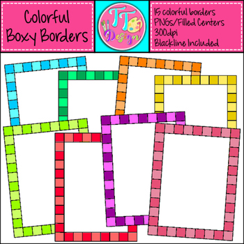 Colorful Boxy Borders Clip Art CU OK
