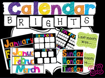 Bright Calendar Pieces and AWESOME calendar activities! (black & white IN ONE!)
