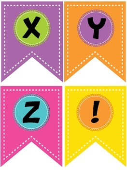 Colorful Bright Happy Birthday Banner Display with ABCs with Blanks
