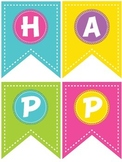 Colorful Bright Happy Birthday Banner Display with ABCs wi
