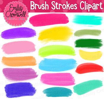 Colorful Brush Stroke Digital Clipart