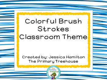 Colorful Brush Strokes Classroom Theme Decor - EDITABLE!