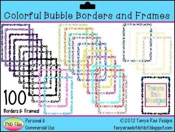 Colorful Bubble Borders and Frames {Digital Clip Art}