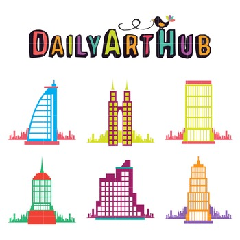 Colorful Buildings Clip Art - Great for Art Class Projects!