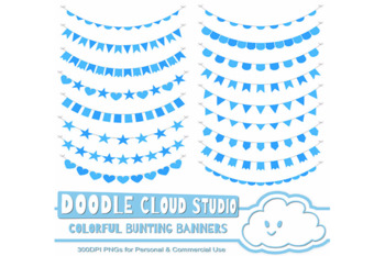 Colorful Bunting Banners Cliparts, Colorful Purple, Blue, Green Colors Bunting