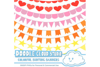 Colorful Bunting Banners Cliparts, Red, Orange, Pink, Yellow Colors Bunting