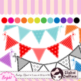 Colorful Bunting Clip Art / Bright Flag Banner Clipart