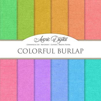 Colorful Burlap Digital Paper patterns linen fabric texture scrapbook background