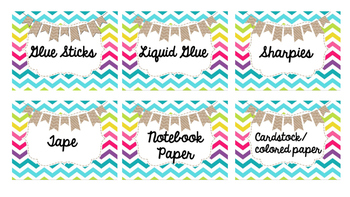Colorful Burlap Supply Labels