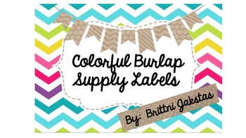 Colorful Burlap Supply Labels