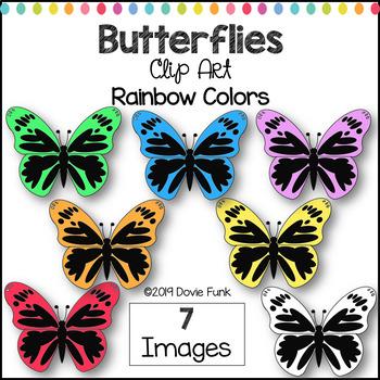 Butterflies Clip Art Rainbow Colors