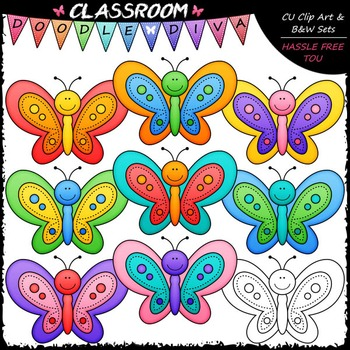 Colorful Butterflies Clip Art - Butterfly Clip Art & B&W Set