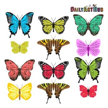 Colorful Butterflies Clip Art - Great for Art Class Projects!